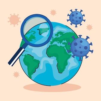 Partículas de vírus com lupa na ilustração do planeta terra
