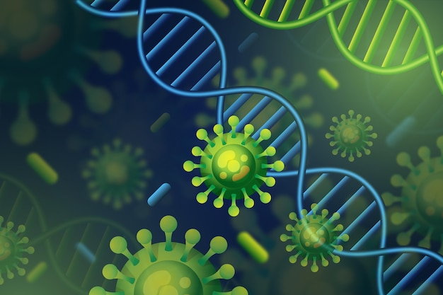 Partículas de vírus interagindo com moléculas de anticorpo - fundo
