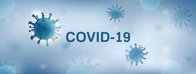 Partículas de vírus no fundo branco bandeira azul com texto covid-19