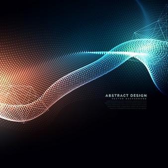 Partículas digitais abstratos fundo em tecnologia e cibernética estilo fluindo