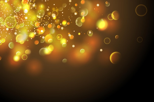 Partículas douradas o bokeh amarelo brilhante circunda o fundo dourado luxuoso