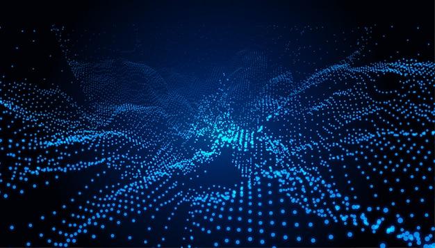 Partículas tecnologia paisagem azul fundo digital