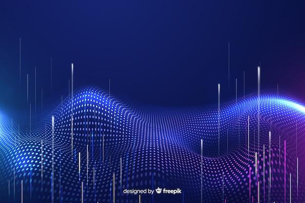 Partículas tecnológicas caindo fundo escuro