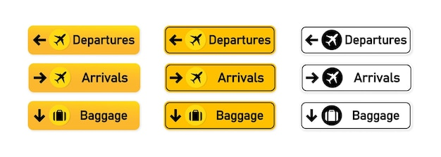 Partidas, chegadas, sinalização de bagagem no aeroporto ou para usar para identificar a direção