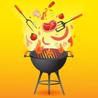 Partido da grade do bbq com ilustração lisa do estilo do alimento.