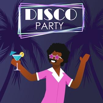 Partido de disco no cartaz tropical do convite da praia