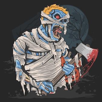 Partido de halloween com trabalhos de arte do traje do zombie da mamã