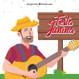 Partido, fundo, homem, tocando, guitarra