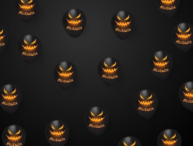Partido preto do projeto de conceito dos balões do dia das bruxas,