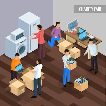 Partilha de economia isométrica com caracteres humanos de pessoas dando uns aos outros bens desnecessários e ilustração de técnicas