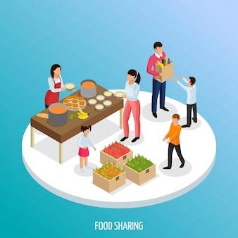 Partilha de economia isométrica com vista de frutos maduros e comida pronta para compartilhar com ilustração de pessoas