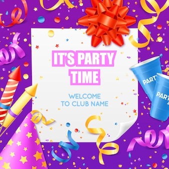 Party announcement invitation modelo colorido festivo