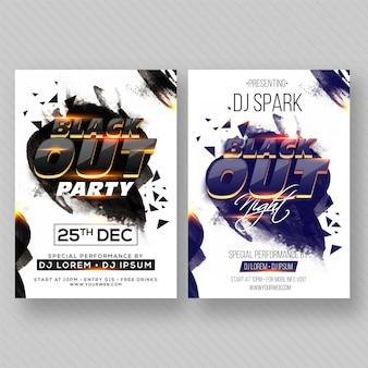 Party banner ou flyer com dois conceitos de cores.