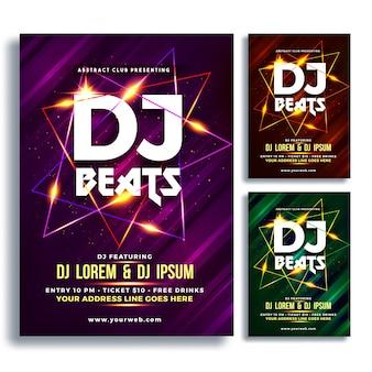 Party night flyer ou banner design com três conceitos de cores roxos, castanhos e verdes.