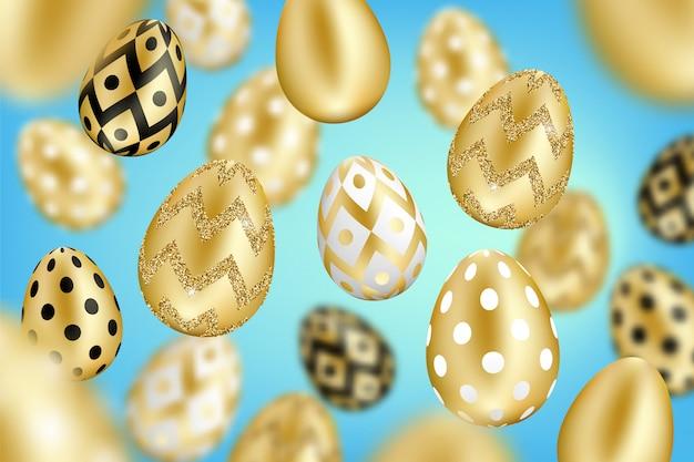 Páscoa 3d realistas ovos de ouro sobre fundo gradiente azul. ilustração de férias
