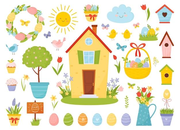 Páscoa com pássaros, ovos, cupcakes doces, flores da primavera e outros elementos da primavera