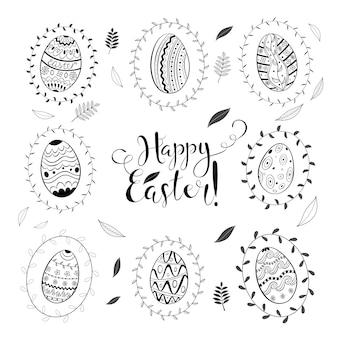 Páscoa dia primavera doodle conjunto com ovos e folhas