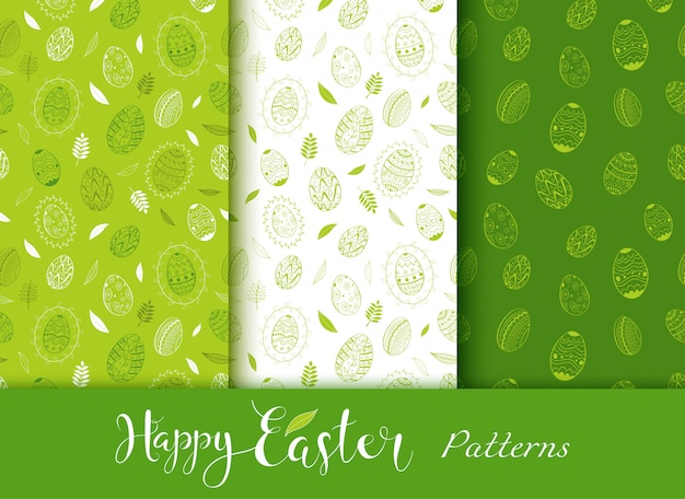 Páscoa dia sem costura mão verde desenhados padrões