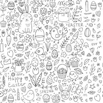 Páscoa doodle padrão sem emenda
