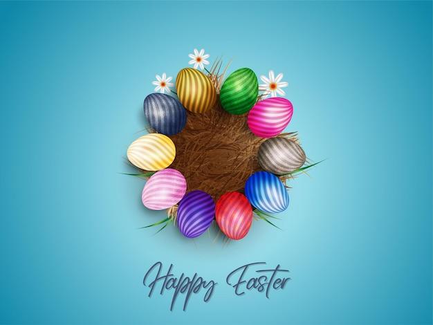 Páscoa feliz .eggs em grama dray com flores brancas isoladas