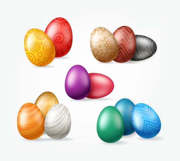 Páscoa feriado ovos grupos clipart isolado