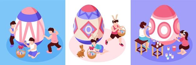 Páscoa isométrica com três ilustrações quadradas com pequenos personagens adultos e crianças pintando ovos grandes