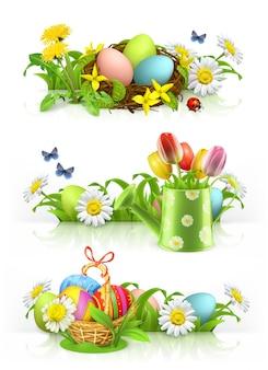 Páscoa, primavera flores 3d vector bandeira conjunto