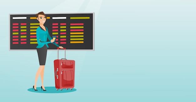 Passageiro caucasiano do avião que guarda o passaporte.