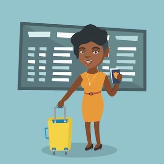 Passageiro de avião africano segurando um passaporte.