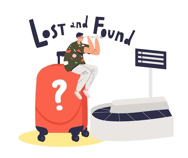 Passageiro de avião masculino sentado na esteira de bagagem com mala encontrada