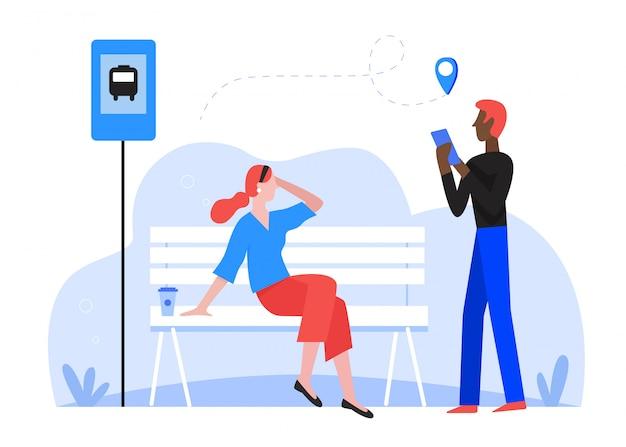 Passageiro de pessoas esperando na ilustração de parada de ônibus. personagens de desenhos animados, homem e mulher, esperam pelo transporte público de ônibus, pesquisa de rota usando o aplicativo de mapa do smartphone, transporte urbano isolado no branco