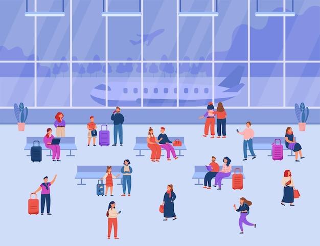 Passageiros à espera do voo no aeroporto