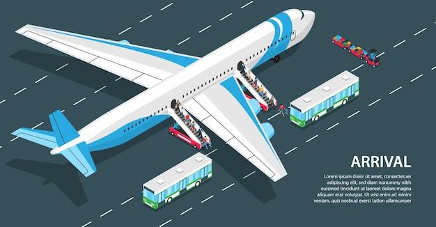 Passageiros chegando ao aeroporto descendo escadas aéreas 3d composição horizontal isométrica