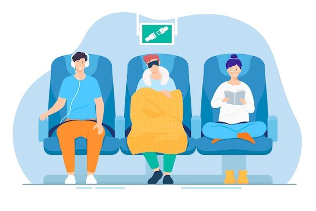 Passageiros dentro de avião