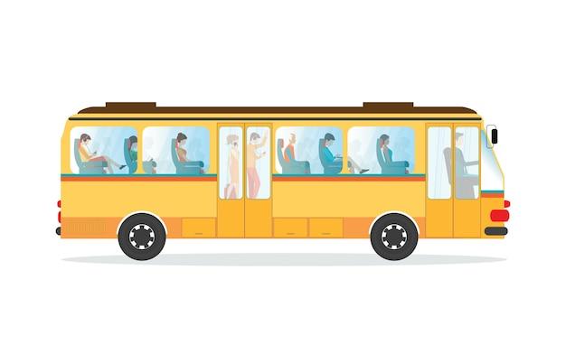 Passageiros em ônibus de transporte público.