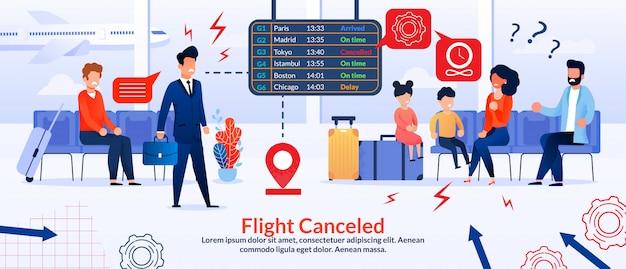 Passageiros irritados com cancelamento de voo