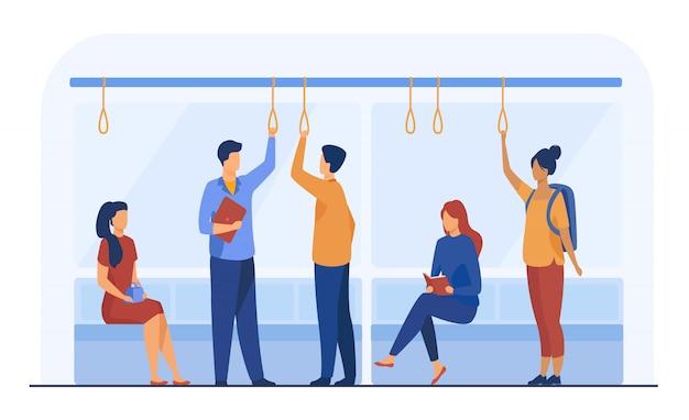 Passageiros na ilustração plana de vagão de metrô