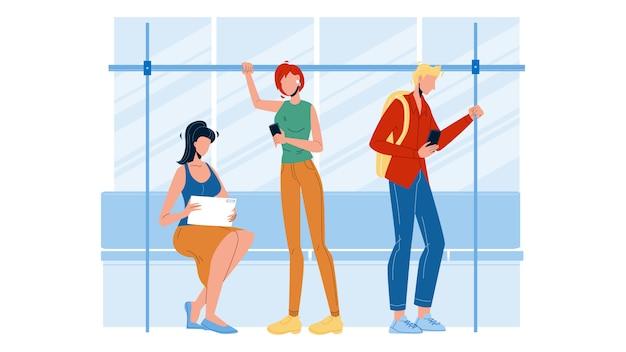 Passageiros que apreciam a viagem no ônibus ou no metro