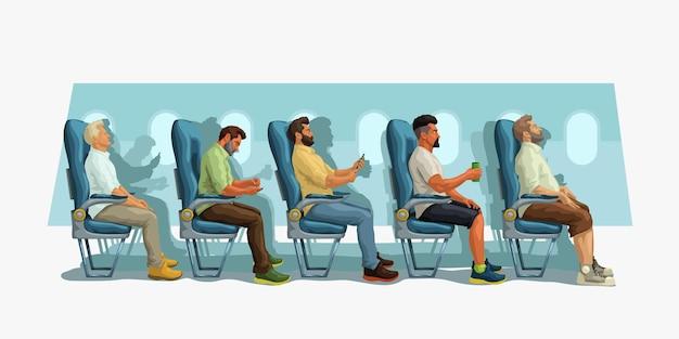 Passageiros sentados em seus assentos em vista lateral da aeronave
