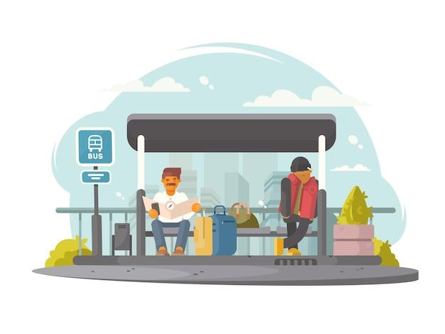 Passageiros sentados na parada de ônibus à espera de transporte. ilustração