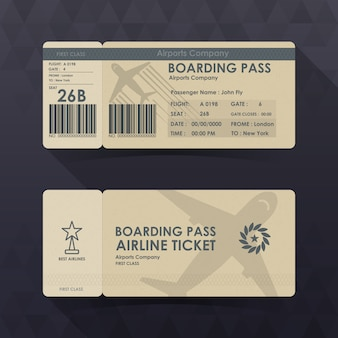 Passagem de embarque bilhetes design de papel marrom.