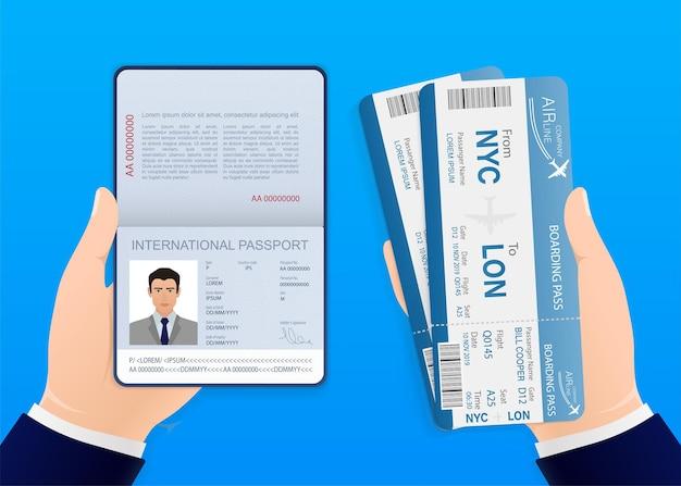 Passagens aéreas com design excelente para qualquer finalidade mãos com passaporte e passagens aéreas