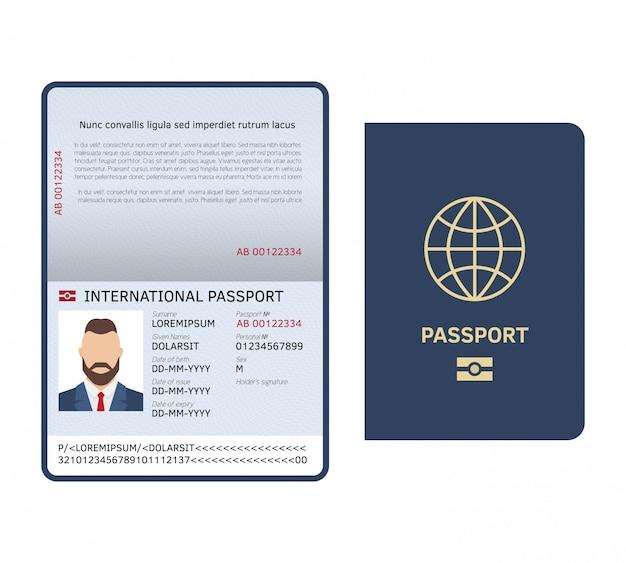 Passaporte aberto. modelo de passaporte internacional de amostra legal de página de foto masculina de documento de identificação