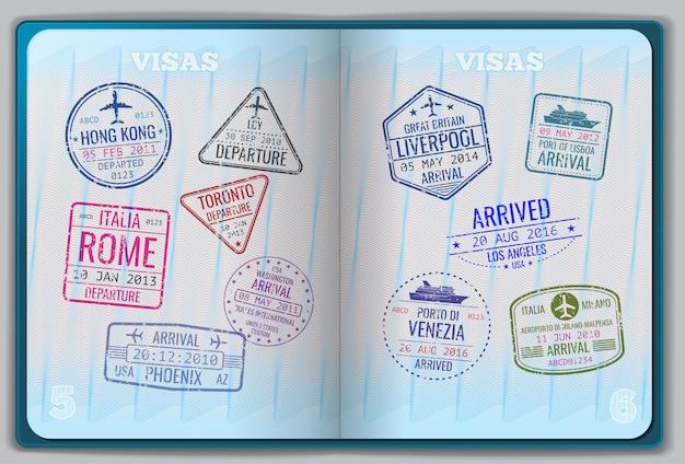 Passaporte aberto para viagens estrangeiras