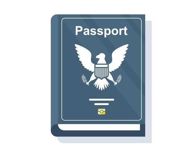 Passaporte azul de cidadão do país. ilustração vetorial plana.