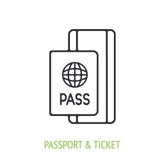 Passaporte com bilhete ícone do esboço documento de identificação ilustração vetorial
