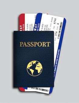 Passaporte com bilhetes de avião dentro