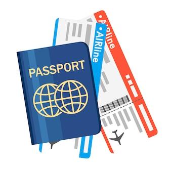 Passaporte com ingressos. conceito de viagens aéreas. identificação de cidadania para o viajante. documento internacional azul. ilustração em fundo branco