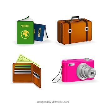 Passaporte com outros itens de viagem