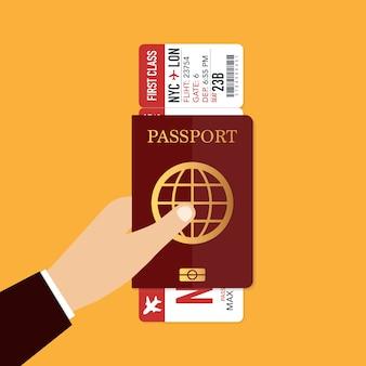 Passaporte com passagem de avião. conceito de viagens. ilustração vetorial